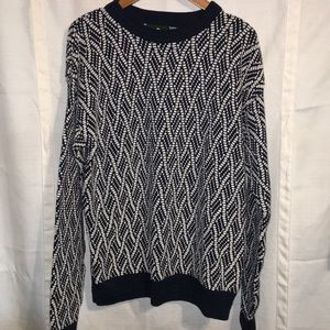 Jantzen blue /white heavy knit sweater large